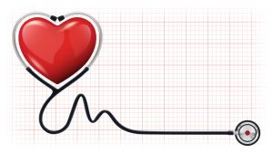 Vector illustration of a 3d red heart with a realistic stethoscope on cardiogram background